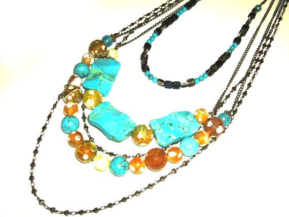Necklace, 5 Strand Necklace, Turquoise, Agate, Beaded, Statement Necklace - pinned by pin4etsy.com