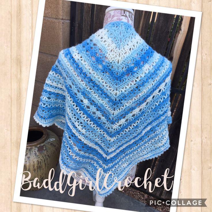 Ice Blue Southern Diamond Shawl, Prayer Shawl, Blue Spring Shawl, by BaddGirlCrochet on Etsy https://www.etsy.com/listing/512767770/ice-blue-southern-diamond-shawl-prayer