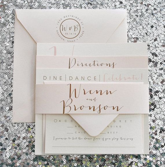 square bronson wedding invitation suite with belly band champagne gold blush pink ivory - Blush Wedding Invitations