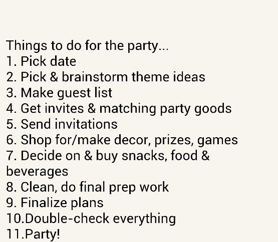 Things to do for the party
