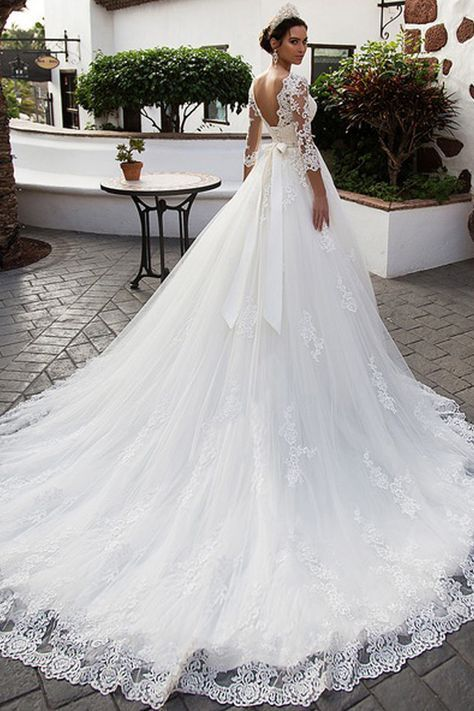 [284.80] Gorgeous Tulle Jewel Neckline A-Line Wedding Dress With Lace Appliques & Beadings & Belt