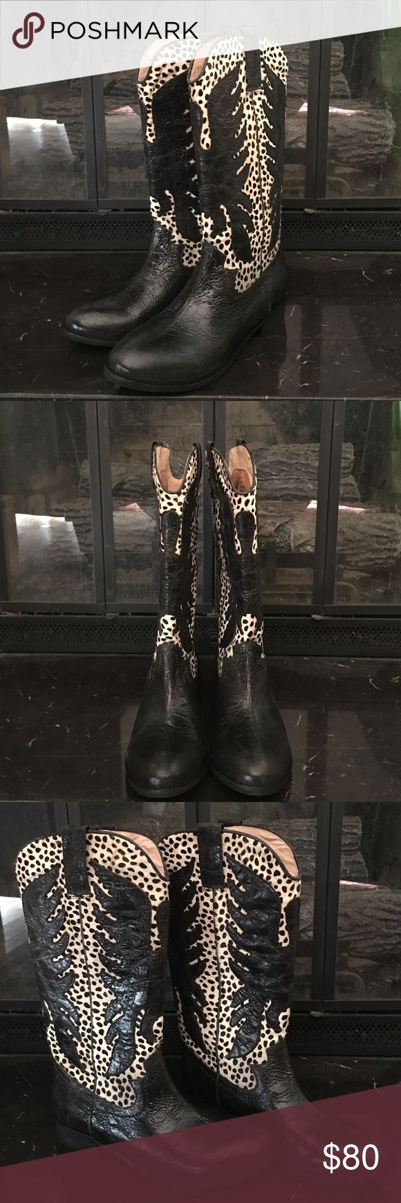 New Mia black horsehair leather cowboy boots Brand new in box never worn black leather and fitted horsehair cowboy boots in Dalmatian print with big eagles. Amazing genuine leather boots! MIA Shoes Ankle Boots & Booties
