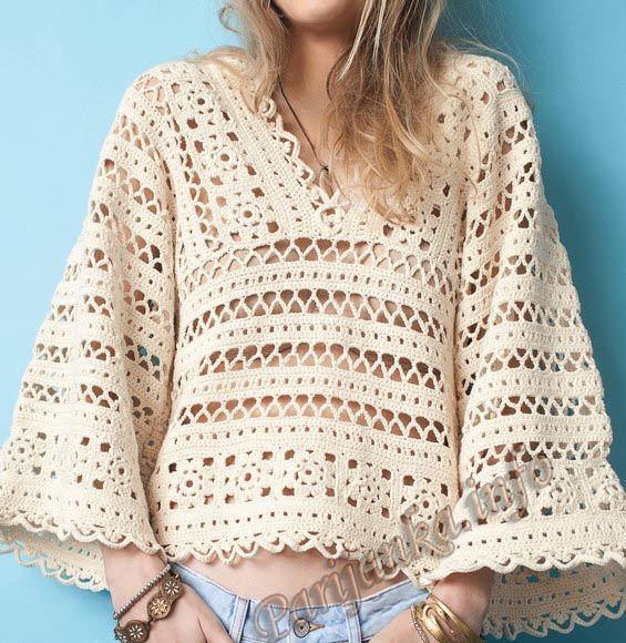 Пуловер с рукавами ¾ крючком (ж) 01*647 Phildar №4725