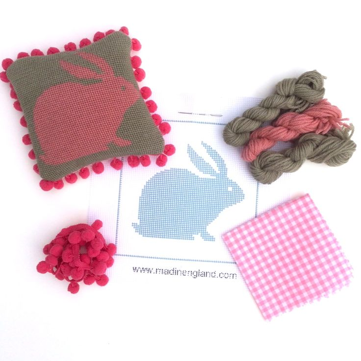 'Rabbit' needlepoint mini kit in pink and grey at www.madinengland.com