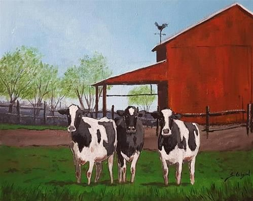 "Daily Paintworks - ""John Shellys Dairy Cows"" - Original Fine Art for Sale - © Steve Gibson"