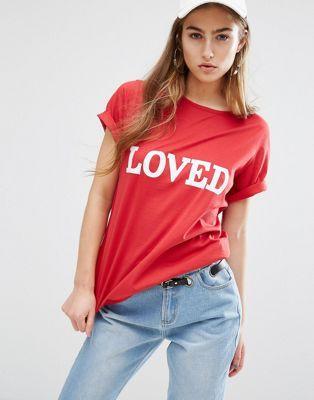 """Свободная футболка с принтом """"Loved"""" Daisy Street"""