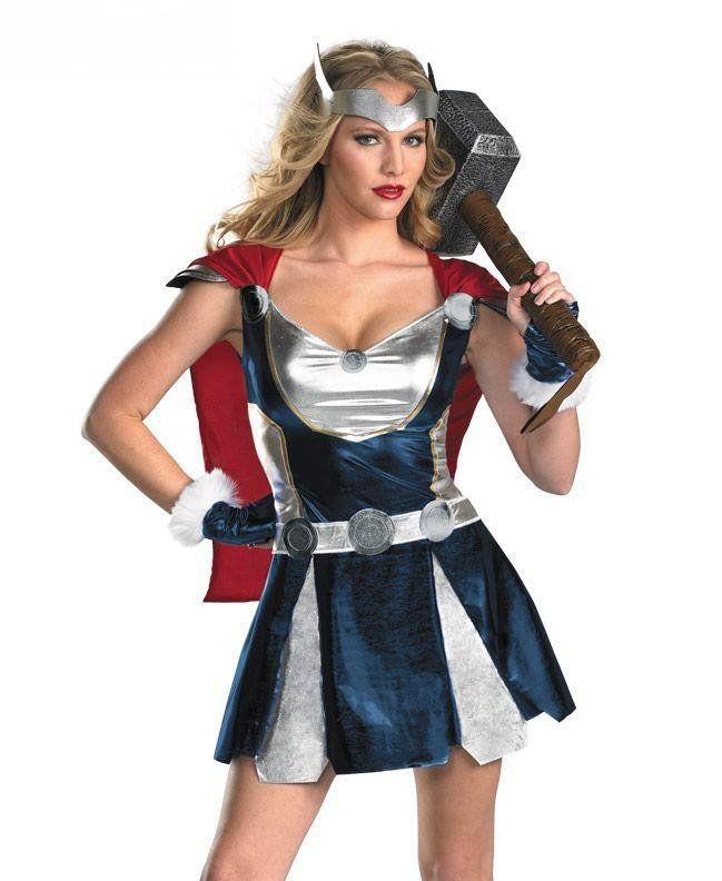 Fantasia Mulher Thor (Somente Vestido com Capa e Ornamento da Cabeça) Tamanho Único