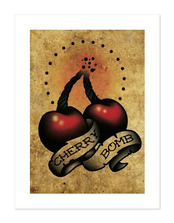Cherry Bomb Neo-Traditional Tattoo Flash Art Print by BlackMast