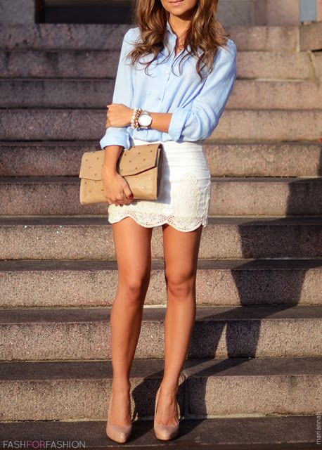 Keep things chic and simple with blue shirt tucked into white lace shirt. Complete the look with nude high heels.