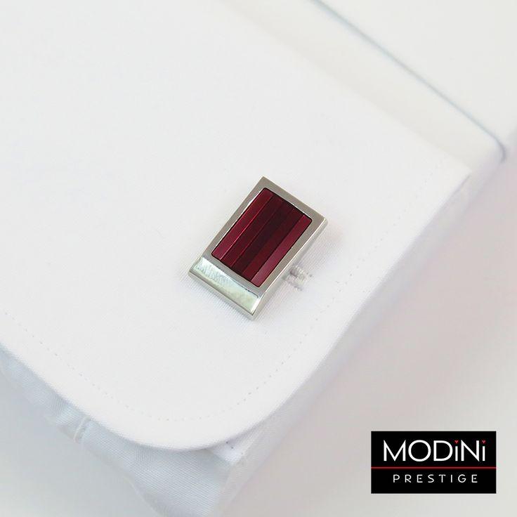 Bordowo-różowe spinki w paski - https://modini.pl/28-spinki-do-mankietow