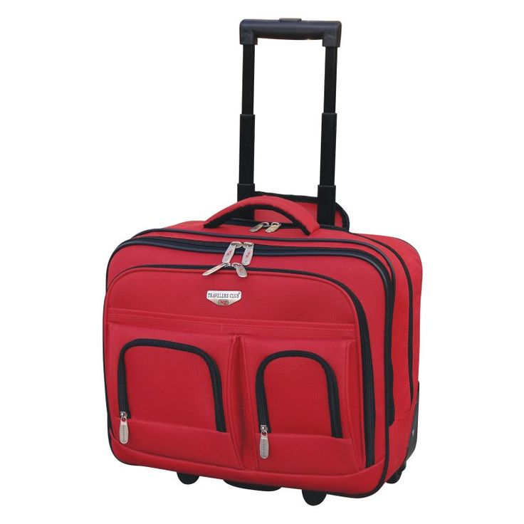 Travelers Club Luggage 17 in. Dual Section Rolling Briefcase With Padded Laptop Compartment Red - EVA21117600