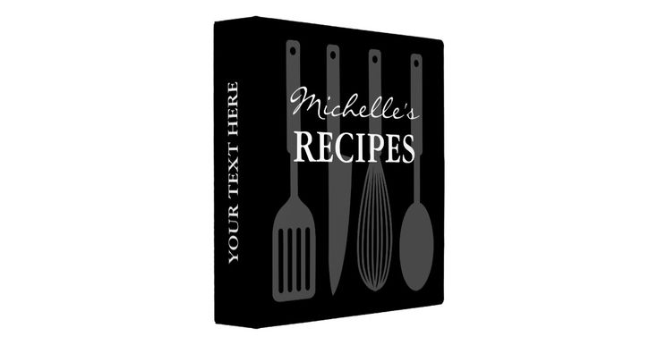Personalized black and white cooking utensil recipe binder book Custom cookbook with spoon, knife, whisk, spatula and personalizable color plus name. Cute personalized baking / cooking gift idea for women; ie mom, mother, mother, aunt, wife, sister, grandma, chef, friend, daughter, girlfriend, mama, grandmother etc. Country chic design with kitchen equipment design. Elegant typography for custom name. Cute modern Birthday or Holiday gift idea for dinner party. Also nice for weddings or b...