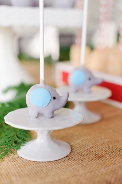 Blue and Gray Elephant Cake Pops for an Elephant Baby Shower Food Idea