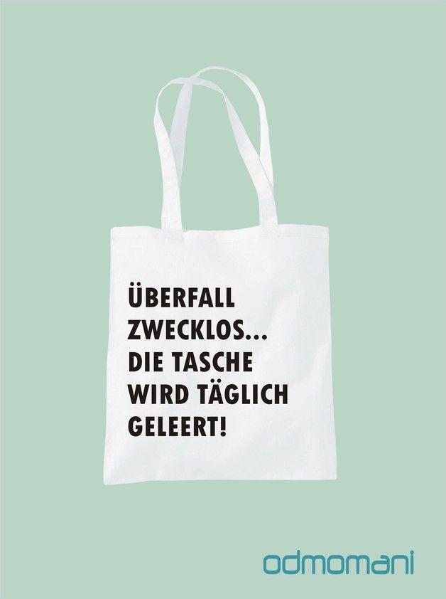 """Stoffbeutel - """"ÜBERFALL ZWECKLOS"""" - Stofftasche - ein Designerstück von odmomani bei DaWanda"""