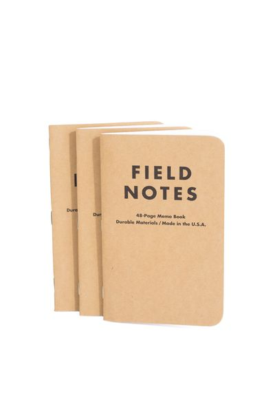 A staple notebook from Field Notes Brand. Filled with 48 pages clean white paper. Each notebook is made with durable, quality materials here in the USA. There isn' a single person on the manready team