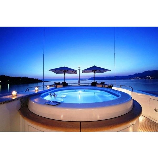 Motor Yacht AMNESIA Jacuzzi at night – Superyachts News, Luxury... ❤ liked on Polyvore featuring pictures, backgrounds, homes, house and house stuff
