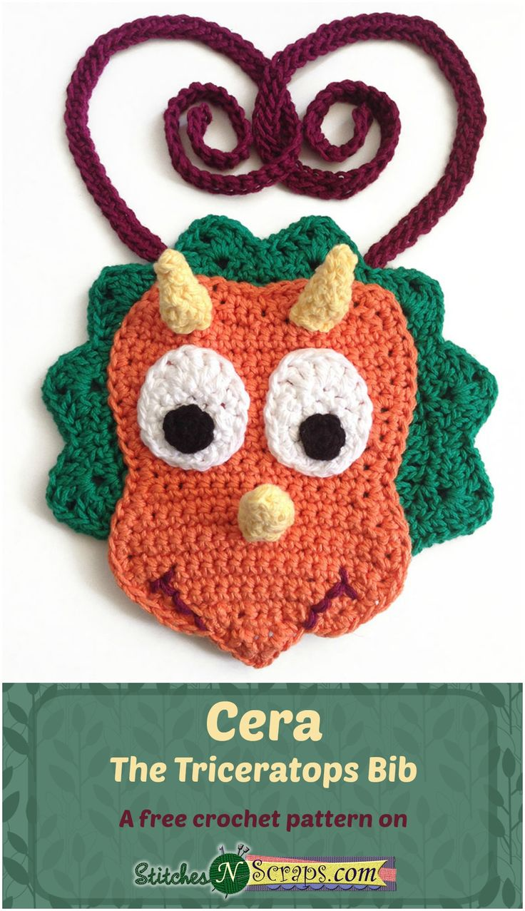935 best baby bibs cover me up baby images on pinterest cera the triceratops bib a free crochet pattern on stitchesnscraps intermediate level bankloansurffo Image collections