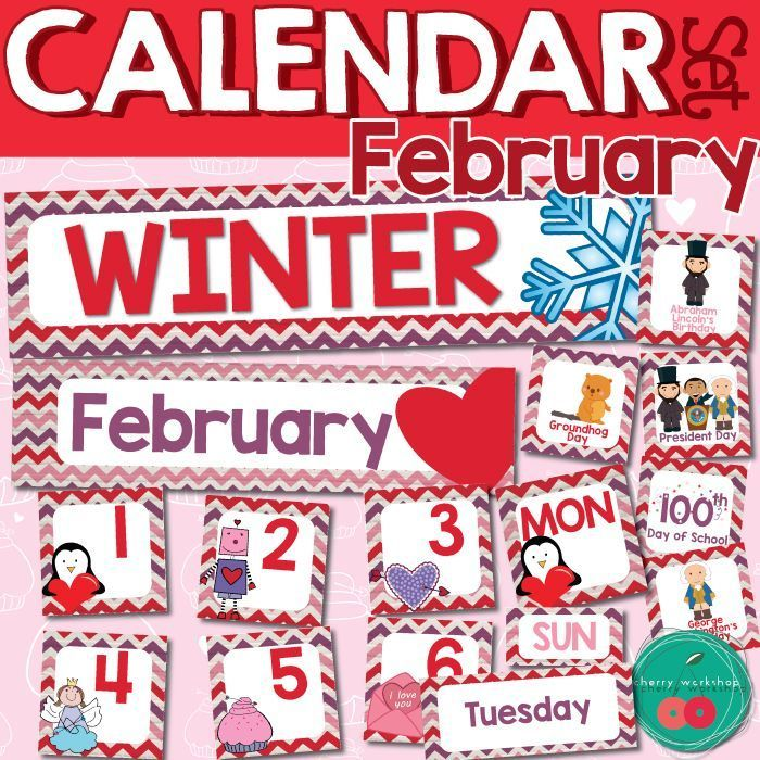 February Calendar Numbers Valentines Days Calendar Set St