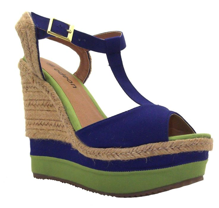 Blue Wedge Sandals Shoes
