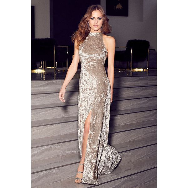 Sway My Options Taupe Velvet Maxi Dress (€75) ❤ liked on Polyvore featuring dresses, beige, sexy halter tops, velvet maxi dress, strappy maxi dress, halter maxi dress and maxi skirt