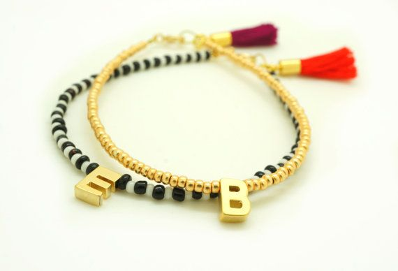 Gold Initial Beaded Bracelet with Tassel  Tiny Matte by minifabo, $16.90