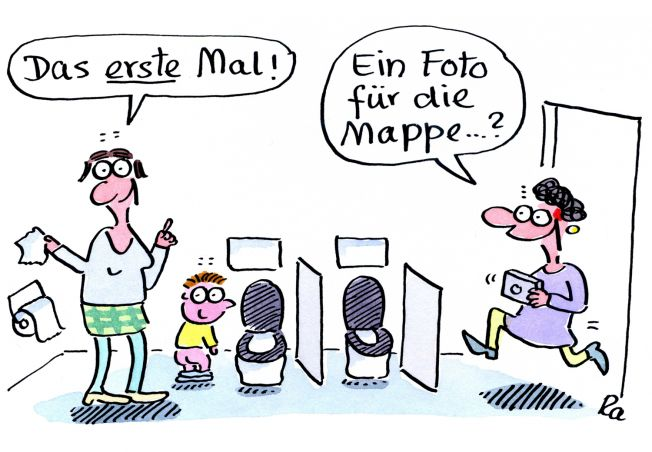 Kigaportal_Kindergarten_Cartoon_Renate-Alf_Erstes Mal