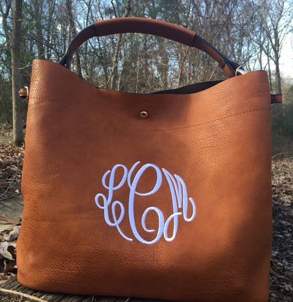 Monogrammed Hobo Purse with companion pouch | Etsy