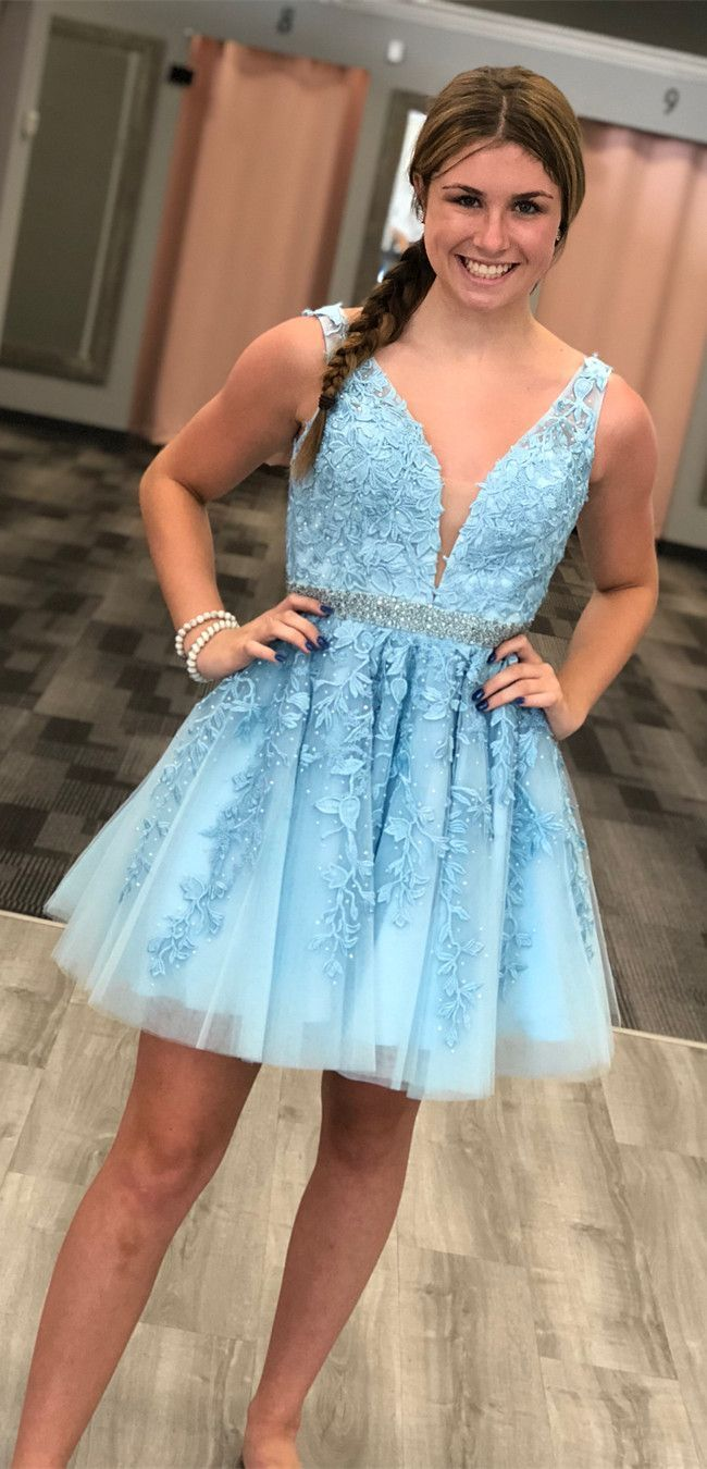 Aline vneck aboveknee light blue homecoming dress with appliques