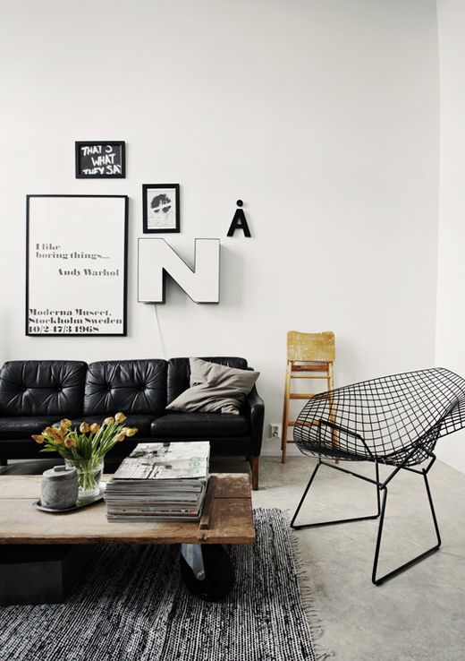 black and white, yet homey....Coffe Tables, Coffee Tables, White Living, Leather Couch, Leather Sofas, Black And White, Livingroom, Living Room, Black White