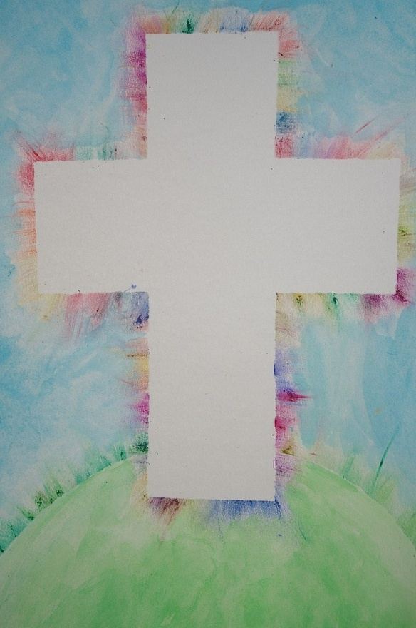 cross craft...not exactly sure how its done.  cross template ontop, use crayons to color off the template?: Watercolor, Food Colors, For Kids, Sunday Schools, Easter Crafts, Crosses Crafts, Water Colors, Oil Pastel, Art Projects