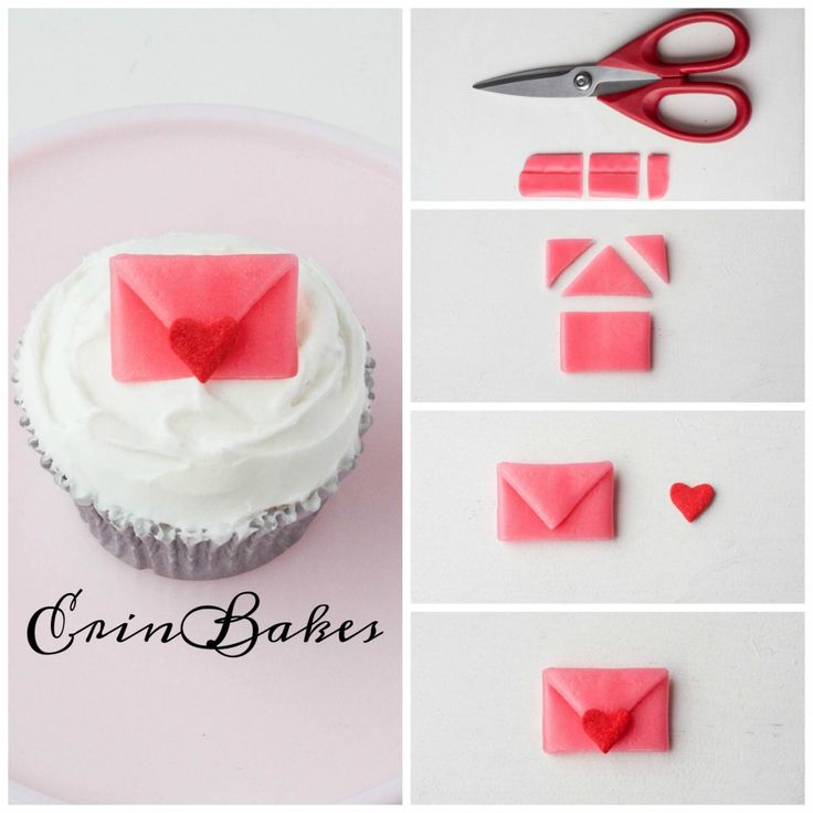 Airhead Envelope Valentine's Day Cupcake Topper | Erin Bakes
