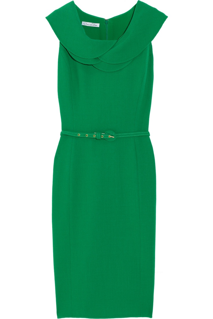 OSCAR DE LA RENTA  Belted wool-crepe dress
