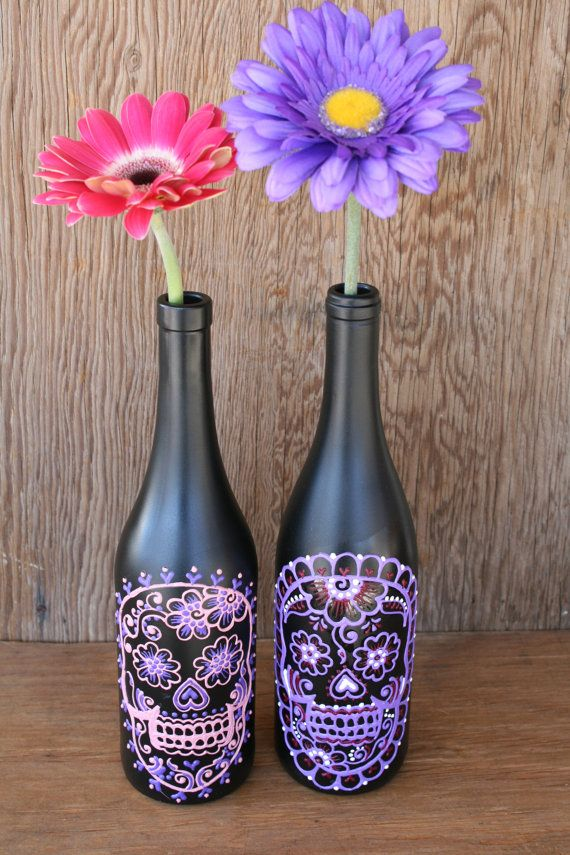Sugar Skull Wine bottle Vase Up Cycled Day of the by LucentJane