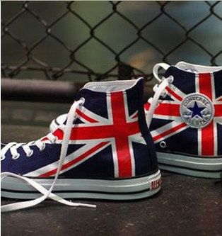 UK Flag Union Jack Sneakers Hand Painted High-top Painted Canvas,High-top Painted Canvas Shoes