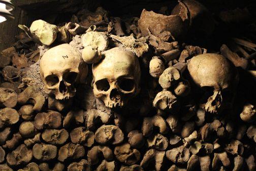 Paris, France. Skulls inside the Catacombs