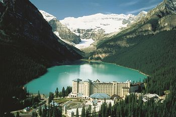 """Chateau Lake Louise-yes the water is that blue (glaciel silt). There is a great hike up the west side of the lake to the """"beehive"""", where there is a small cabin for tea and soup. The ride down is a fabulous piece of single track."""