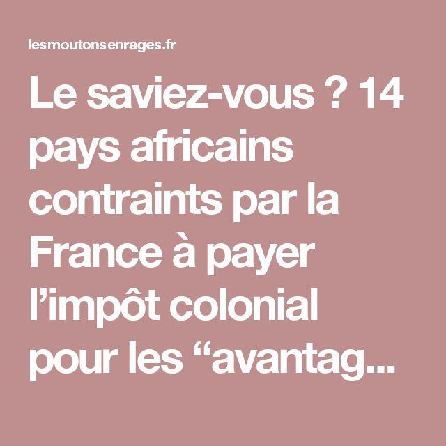 """Le saviez-vous ? 14 pays africains contraints par la France à payer l'impôt colonial pour les """"avantages"""" de l'esclavage et de la colonisation – Les moutons enragés"""