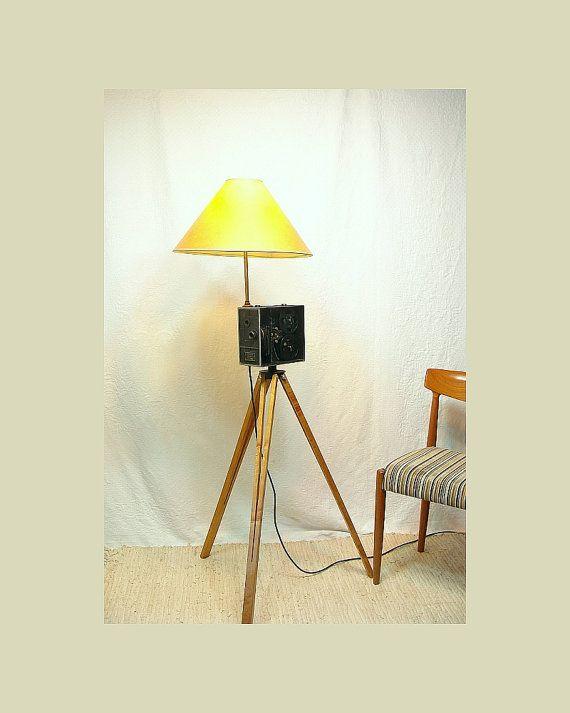 Tripod Lamp Made From Cine Kodak Camera Body Wood Tripod