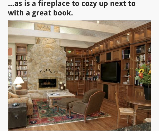 Books by fireplace