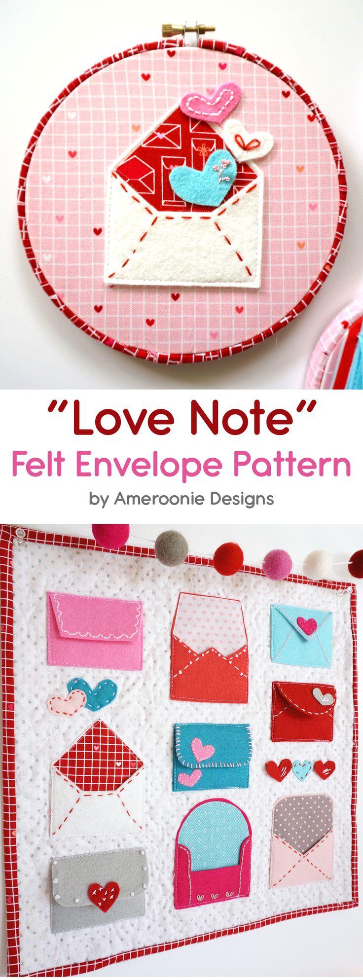"e306017cfdfc69b5b25c5fef68e640fc - A free pattern for ""Love Notes"" a Valentine's Day Craft idea. A felt envelope tu..."