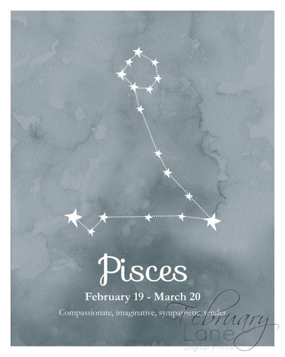 Pisces Zodiac Constellation Wall Art Printable by FebruaryLane                                                                                                                                                                                 Mais