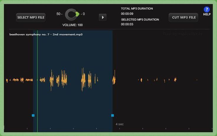 MP3 Cutter es una práctica utilidad web gratuita para cortar nuestros audios Mp3, por ejemplo para crear ringtones, y ajustar su volumen.