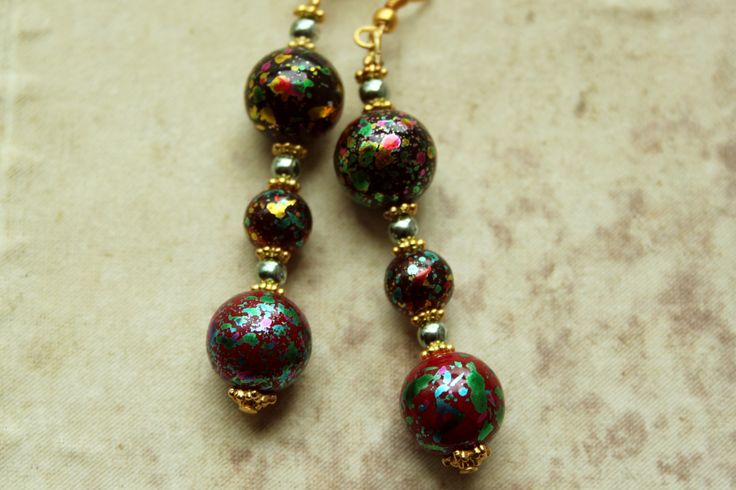 Earrings with colorfull glass beads