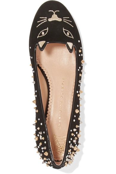 Charlotte Olympia - Kitty Embellished Embroidered Suede Ballet Flats - Black