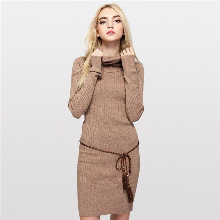 2016 British Style Pure Color Warm Sweater Woman Turtleneck Long Knitted Sweater and Pullovers Slim Fit Design