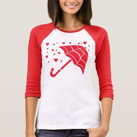 Red Umbrella Hearts Ladies Raglan T-Shirt - tap to personalize and get yours