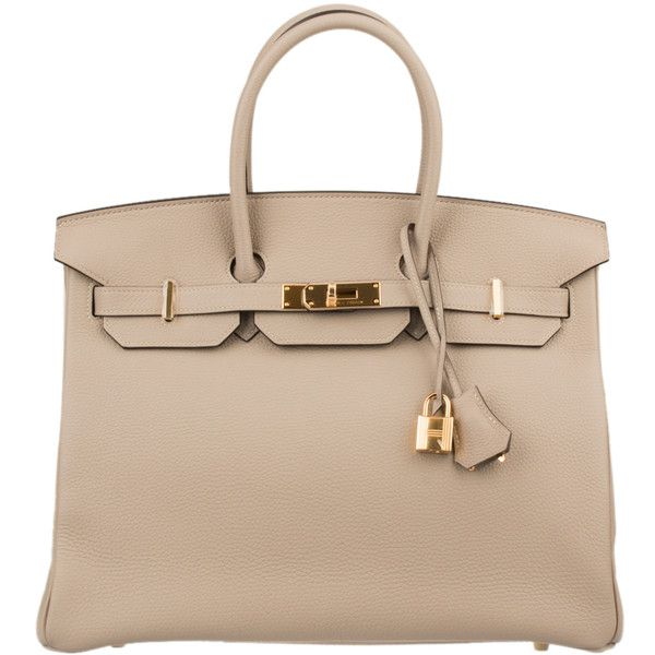 Pre-Owned Hermes Gris Tourterelle Togo Birkin 35cm with Gold Hardware (1,450,335 INR) found on Polyvore featuring bags, handbags, gris tourterelle, leather purse, colorful handbags, pre owned handbags, beige purse and real leather purses