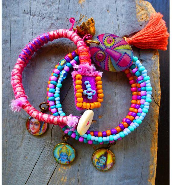 Gypsy Bracelet Set, Stacking Bracelet, Beaded, India God charm, Tassel bracelet. Thread wrapped Bracelet, Memory wire bracelet, Bangle set