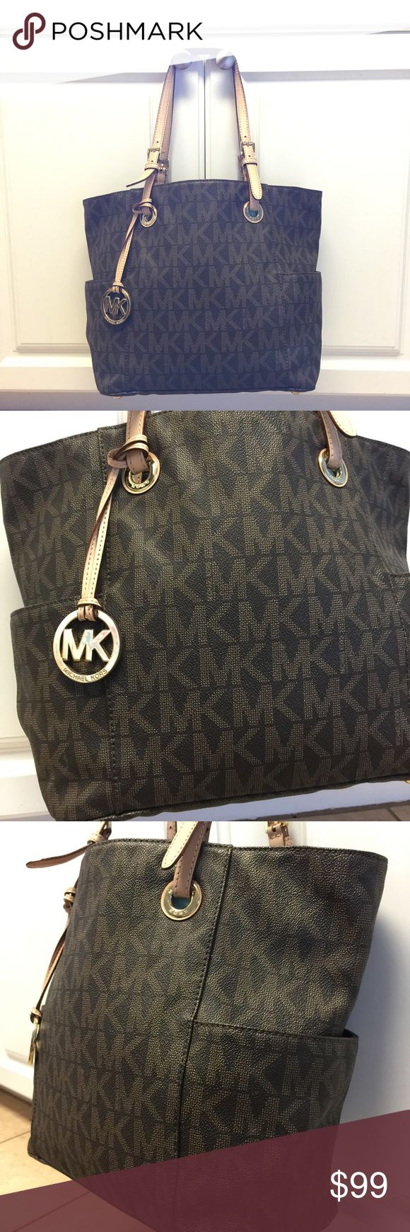 Michael Kors Signature Jet Set Tote Michael Kors Signature Jet Set Tote in brown/tan. Exterior has pockets on both sides, and interior is extremely spacious. Interior has one zippered pocket and 4 open pockets on sides as well as one large zippered pocket down the middle. This bag is pre loved and does have some signs of wear, but still has a lot of life left! Some minor wear on straps and random markings inside (pens and makeup). No rips or tears. Leather is in fabulous shape! Bag measures…