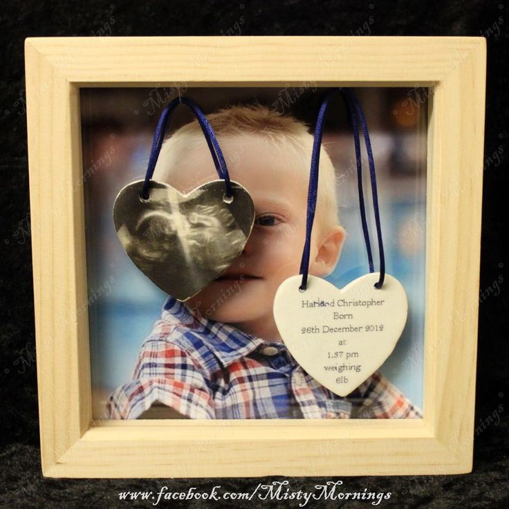 "Box frame with clay hearts of scan picture and baby's birth details background can be a photo or pearlescent pale coloured card  internal photo 6"" x6"" www.facebook.com/PicMeThat"